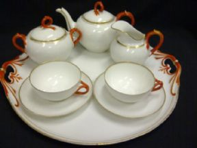 A Continental Vintage tea for two with tray